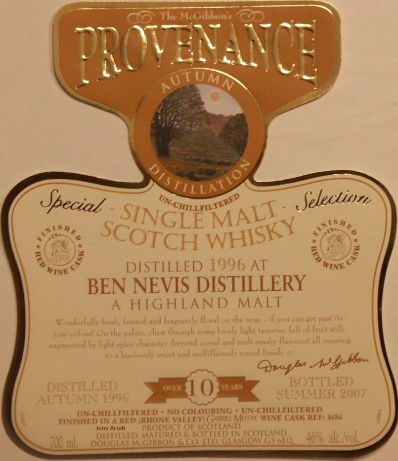 Ben Nevis Speciales Provenance Whisky Label