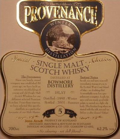 Bowmore Speciales Provenance Whisky Label