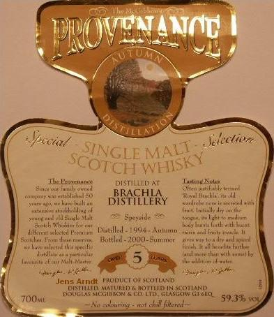 Brachla Speciales Provenance Whisky Label