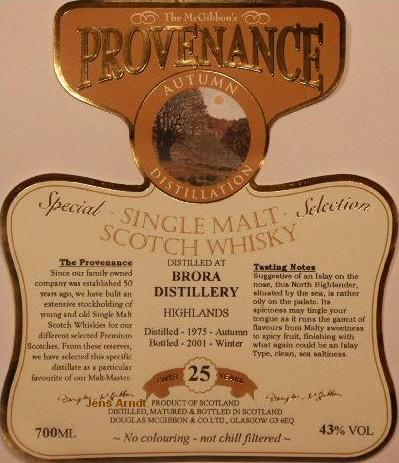 Brora Speciales Provenance Whisky Label