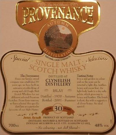 Clynelish Speciales Provenance Whisky Label