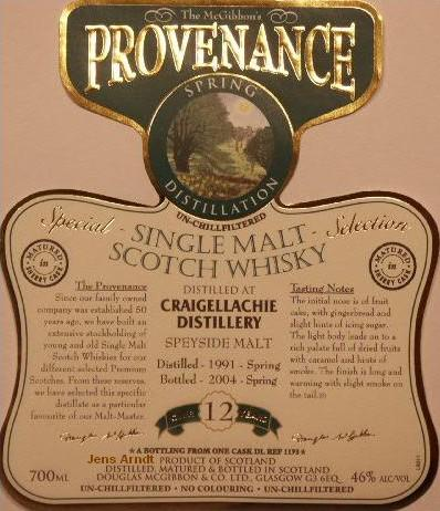 Craigellachie Speciales Provenance Whisky Label