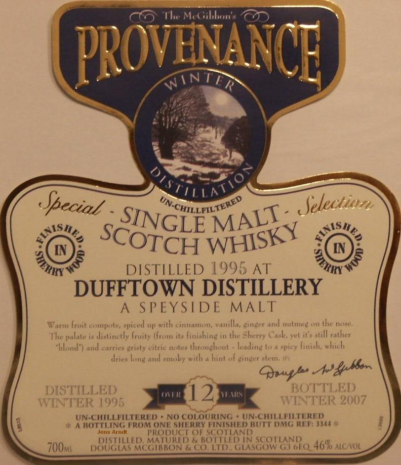 Dufftown Speciales Provenance Whisky Label