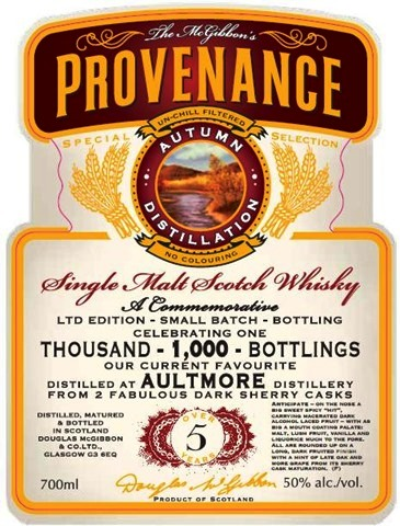 Aultmore Speciales Provenance Whisky Label