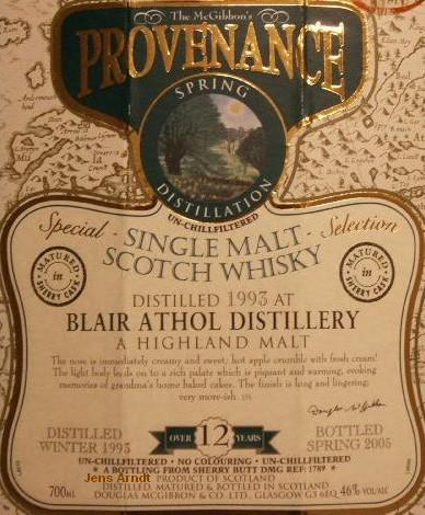 Blair Athol Speciales Provenance Whisky Label