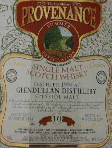 Glendullan Speciales Provenance Whisky Label