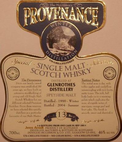 Glenrothes Speciales Provenance Whisky Label