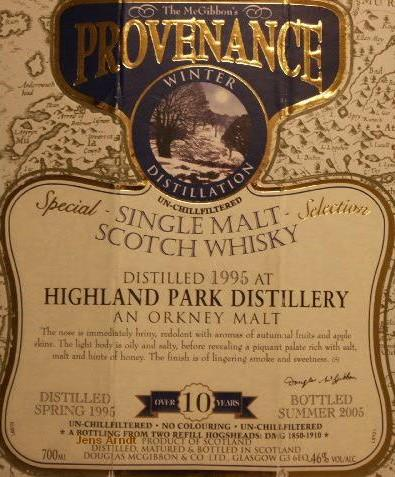 Highland Park Speciales Provenance Whisky Label