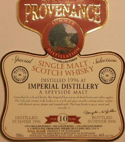 Imperial Speciales Provenance Whisky Label