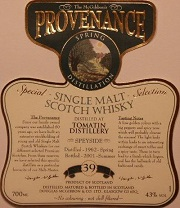 Tomatin Speciales Provenance Whisky Label