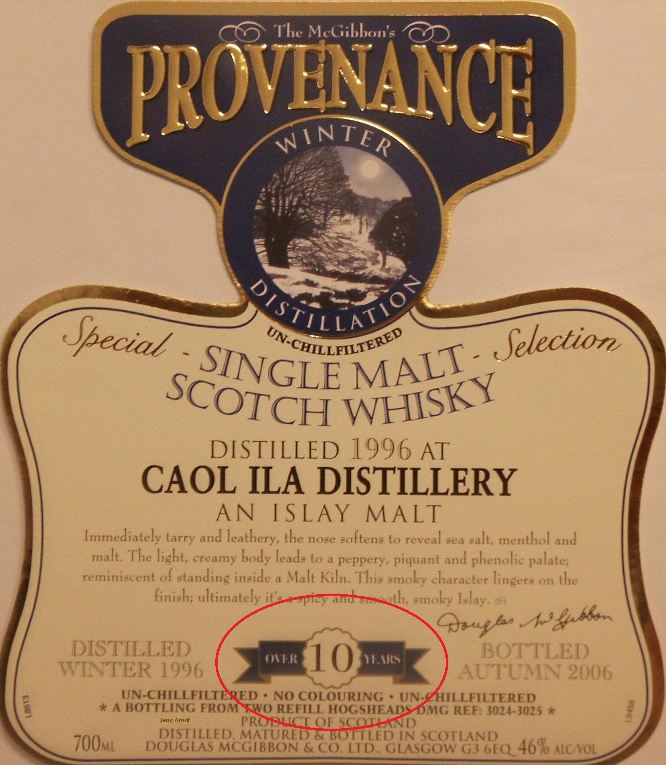 2005 - 2008  Speciales Provenance Whisky Label
