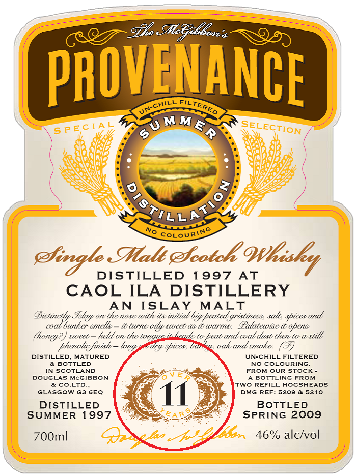 2009 - 2015 / 2016  Speciales Provenance Whisky Label
