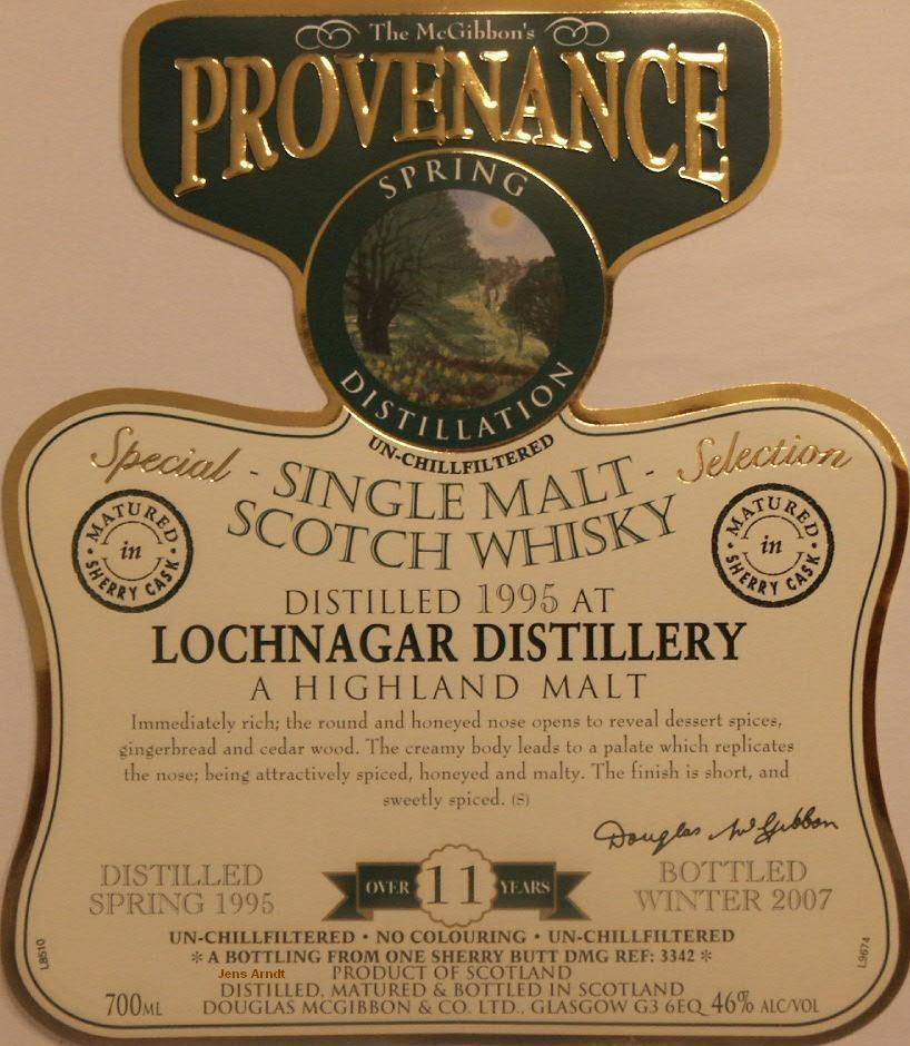 Lochnagar Speciales Provenance Whisky Label
