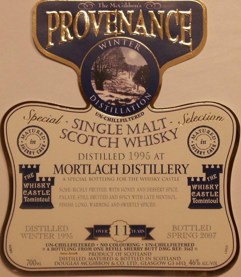 Mortlach Speciales Provenance Whisky Label