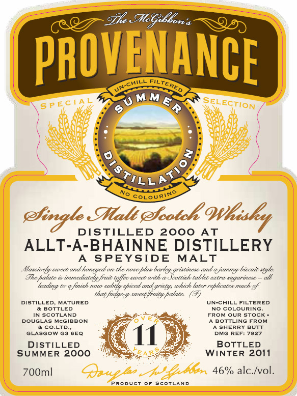Allt A Bhainne Speciales Provenance Whisky Label