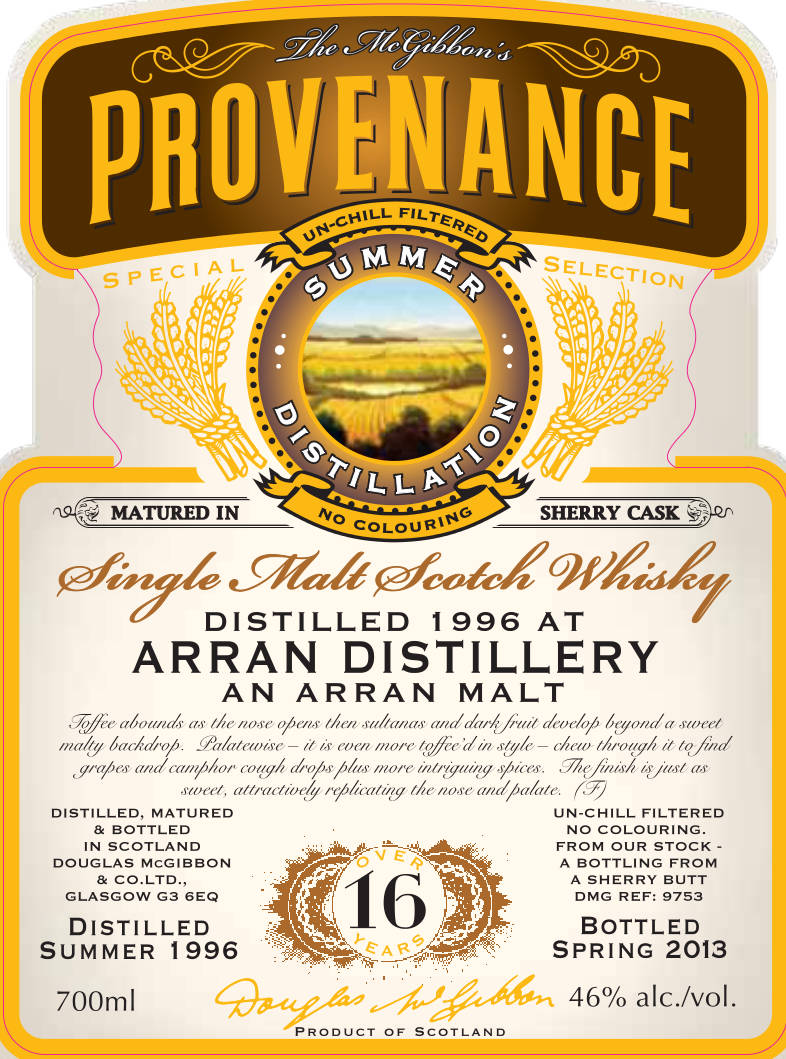Arran Speciales Provenance Whisky Label