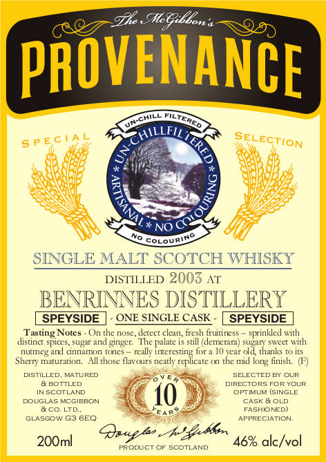 Benrinnes Speciales Provenance Whisky Label