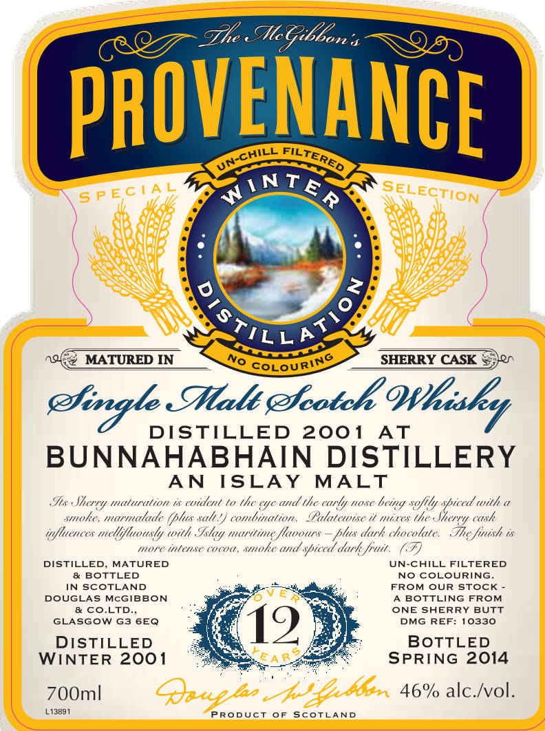 Bunnahabhain Speciales Provenance Whisky Label