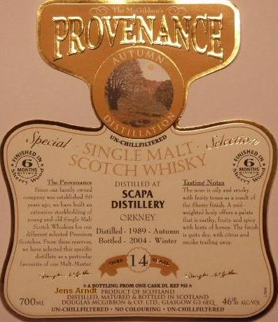 Scapa Speciales Provenance Whisky Label