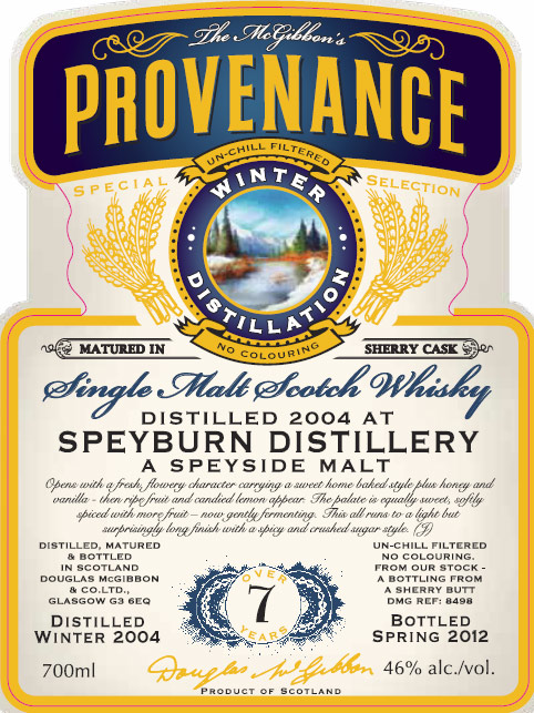 Speyburn Speciales Provenance Whisky Label