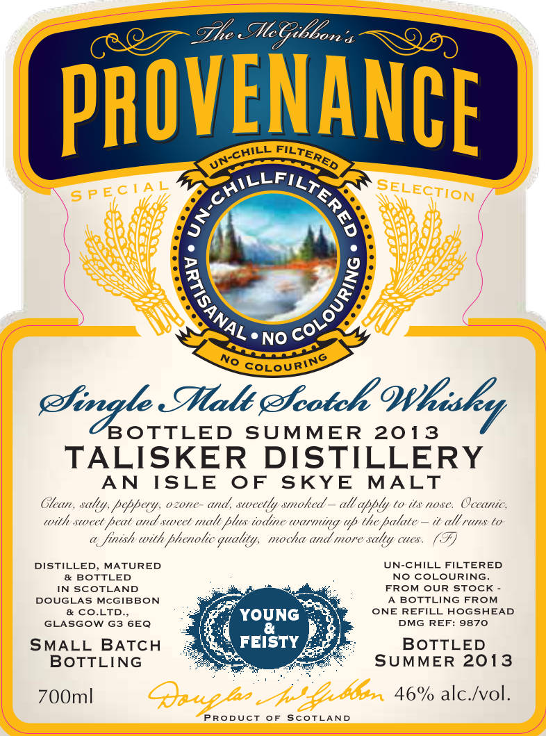 Talisker Speciales Provenance Whisky Label