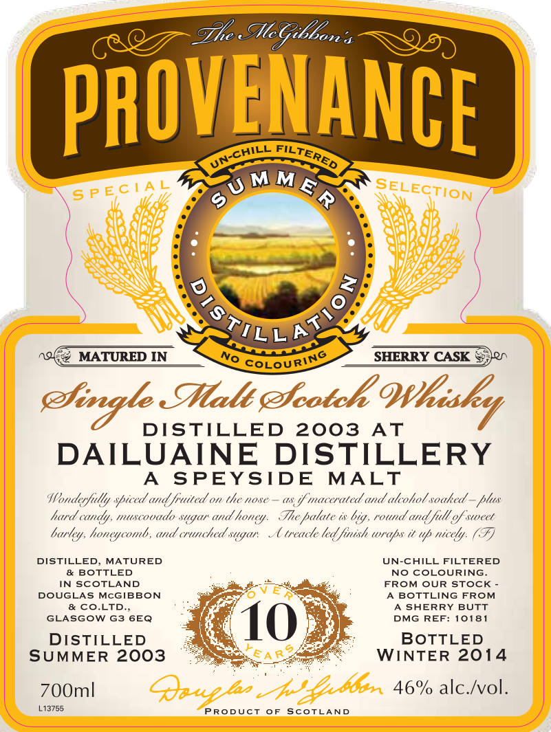 Dailuaine Speciales Provenance Whisky Label