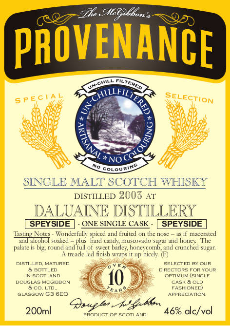 Daluaine Speciales Provenance Whisky Label