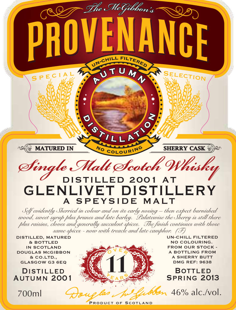 Glenlivet Speciales Provenance Whisky Label
