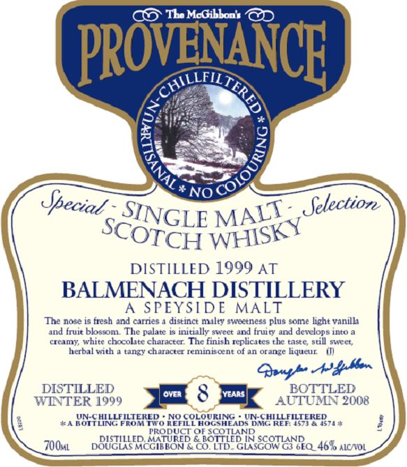 Balmenach Speciales Provenance Whisky Label