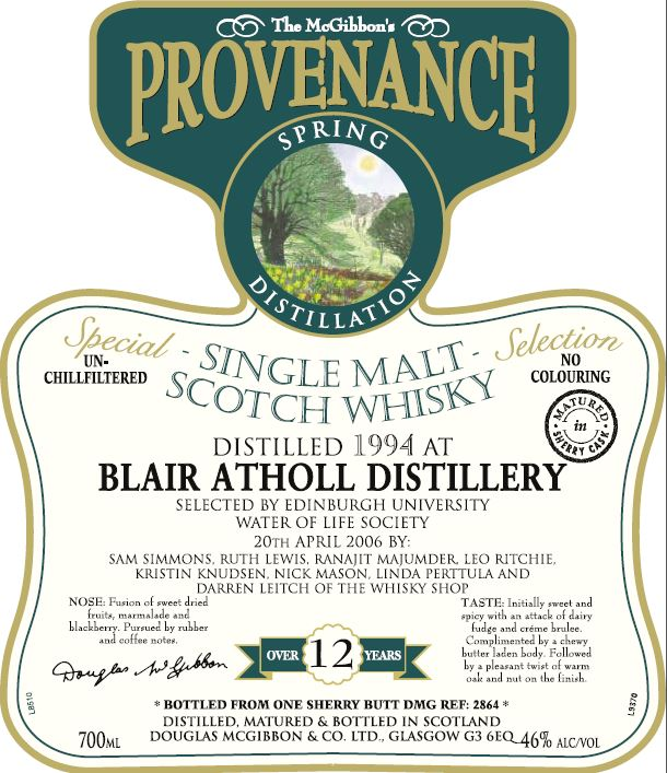 Blair AtholSpeciales Provenance Whisky Label