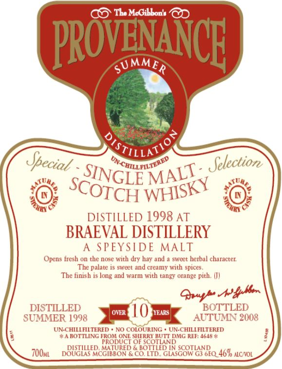 Braeval Speciales Provenance Whisky Label