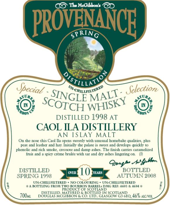 Caol Ila Speciales Provenance Whisky Label
