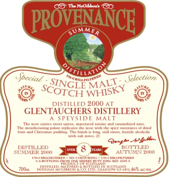 Glentauchers Speciales Provenance Whisky Label