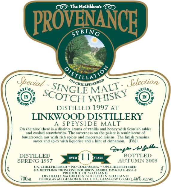 Linkwood Speciales Provenance Whisky Label