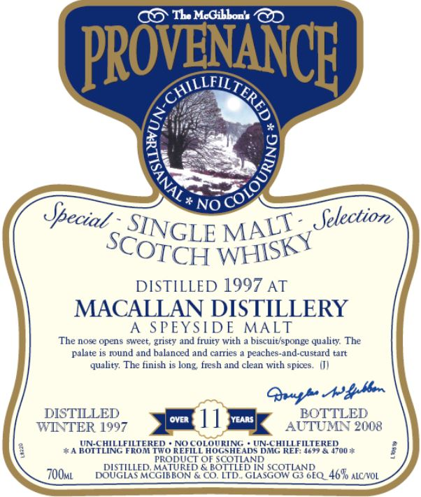 Macallan Speciales Provenance Whisky Label
