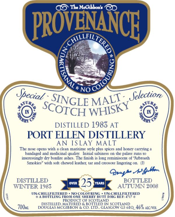 Port Ellen Speciales Provenance Whisky Label