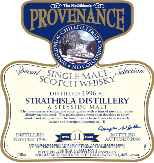 Strathisla Speciales Provenance Whisky Label